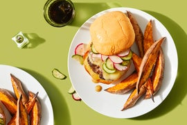 "Cheeseburgers with Cucumber-Radish Salsa ""The Gouda Wife Burger"""