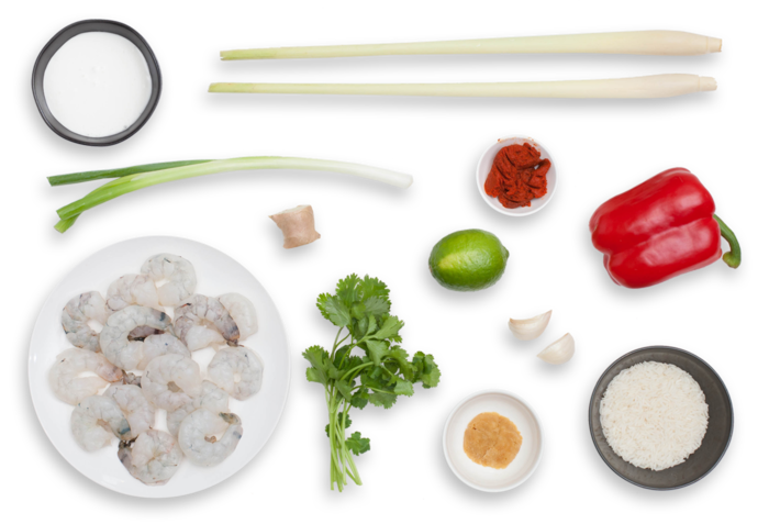 Thai Shrimp Soup with Coconut, Lemongrass & Red Curry ingredients