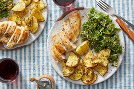 Seared Chicken & Roasted Potatoes with Kale Salad & Creamy Calabrian Dressing