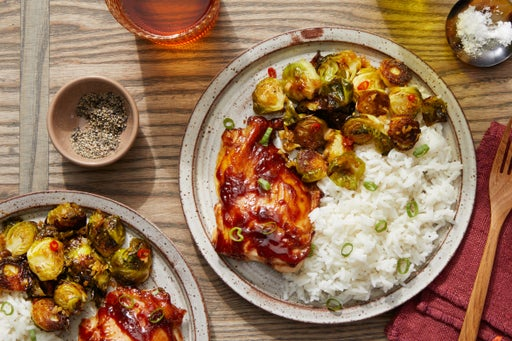 Soy-Glazed Chicken Thighs with Kung Pao Brussels Sprouts & Jasmine Rice