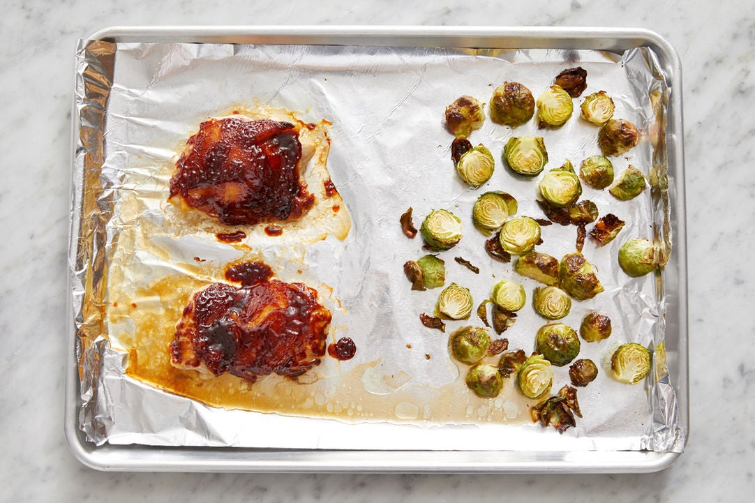 Roast the Brussels sprouts & chicken: