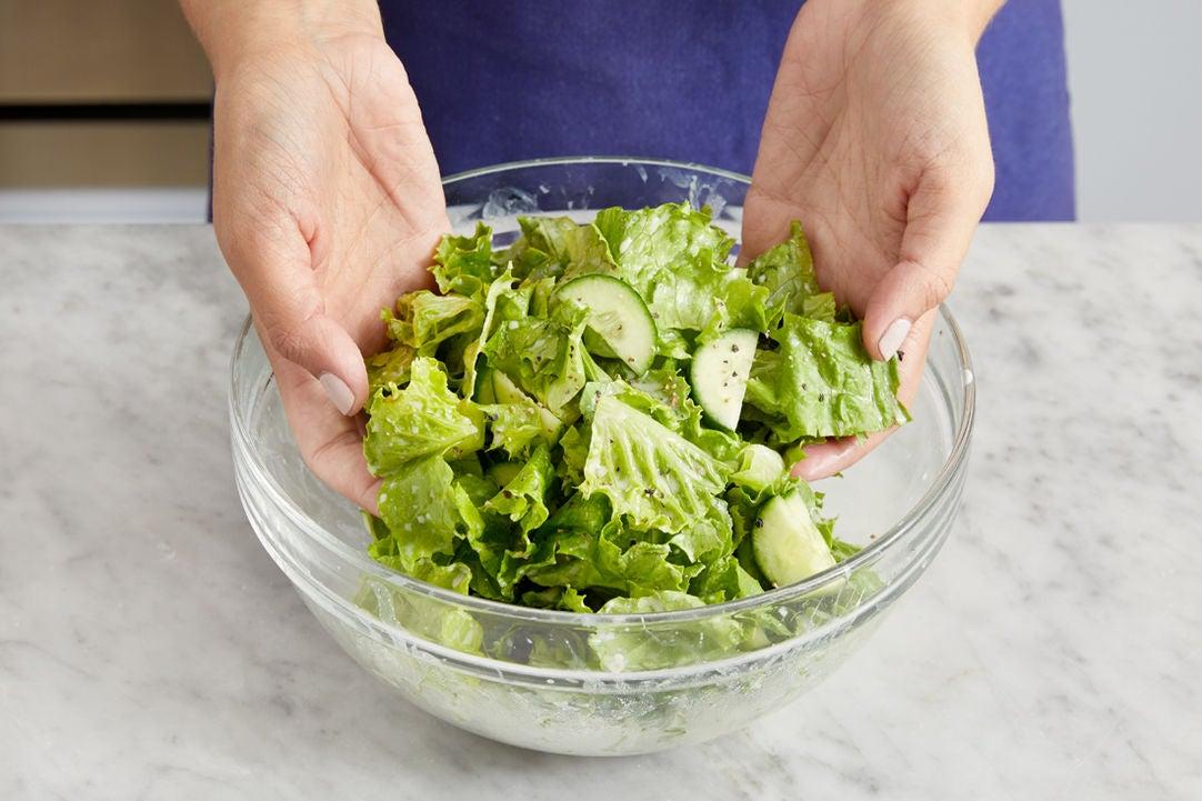 Make the dressing & salad:
