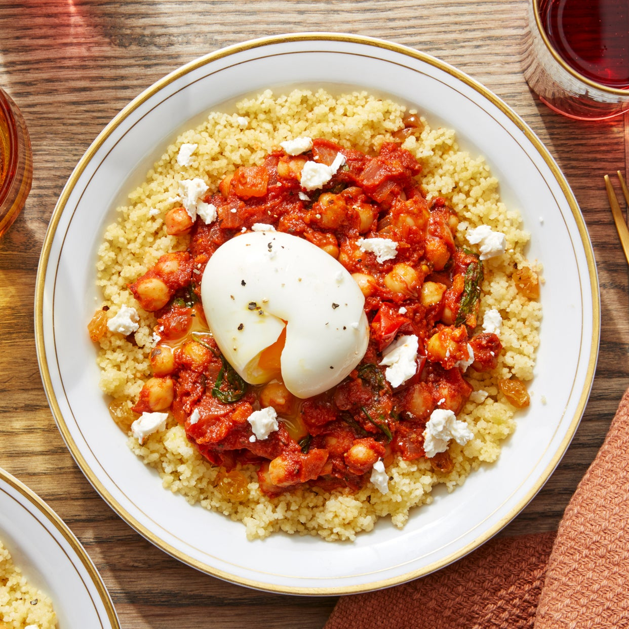 Moroccan-Style Couscous Bowls with Chickpeas, Tomatoes, & Feta Cheese