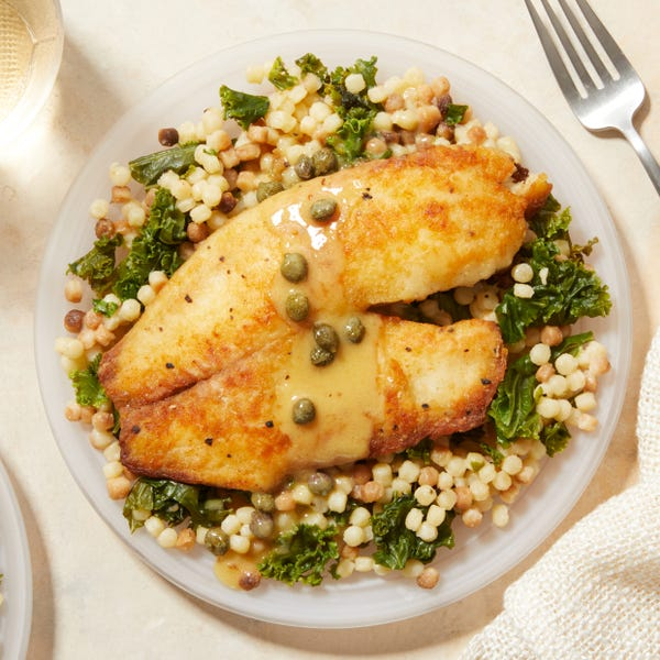 Crispy Seared Tilapia &  Fregola Sarda with Fig-Caper Butter Sauce