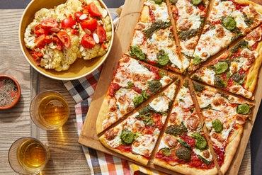 Tomato & Basil Pesto Pizza with Roasted Cauliflower