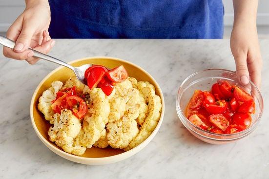 Finish the cauliflower & serve your dish: