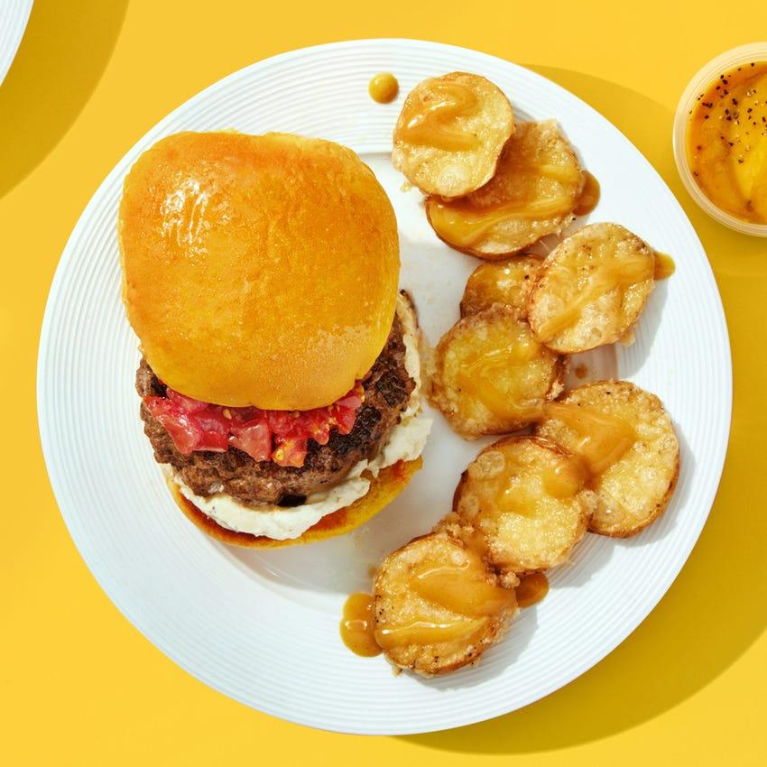 "Bob's Burger Cheeseburgers with Caramelized Shallot ""The Absentee Shallot Burger"""