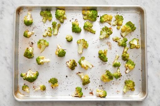 Prepare & roast the cauliflower: