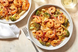 Spicy Shrimp Pasta with Garlic & Broccoli