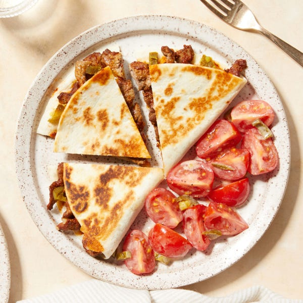 Beef & Monterey Jack Quesadillas with Dressed Tomatoes