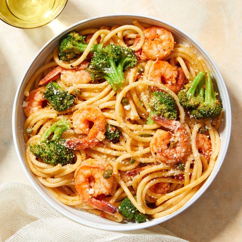Creamy Tomato Shrimp & Fettuccine with Broccoli