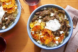 Spiced Beef & Couscous with Maple-Harissa Squash