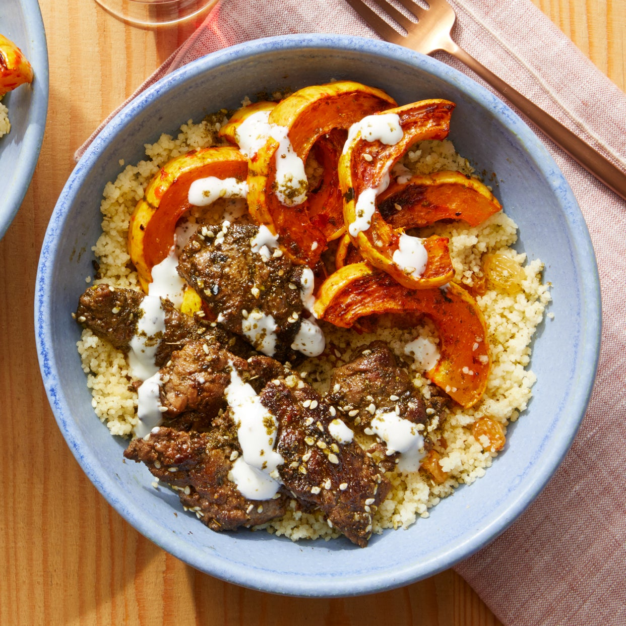 Spiced Beef & Couscous with Roasted-Harissa Squash
