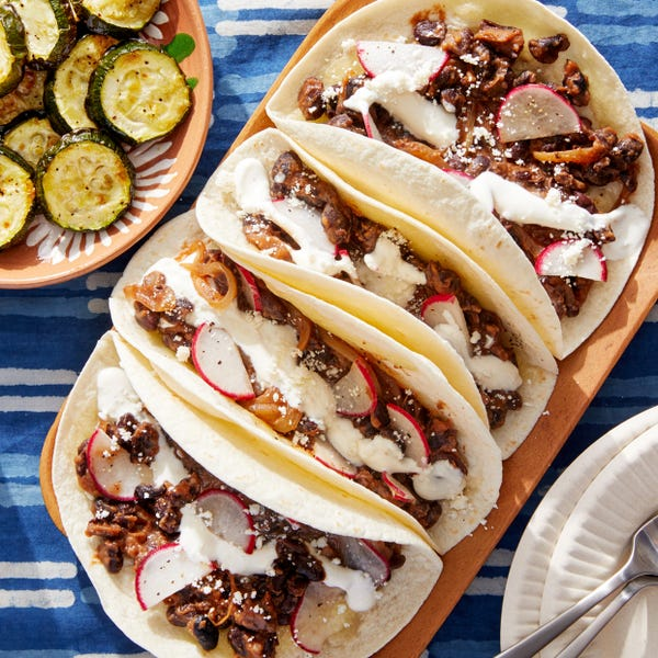 Spicy Black Bean & Caramelized Onion Tacos with Roasted Zucchini
