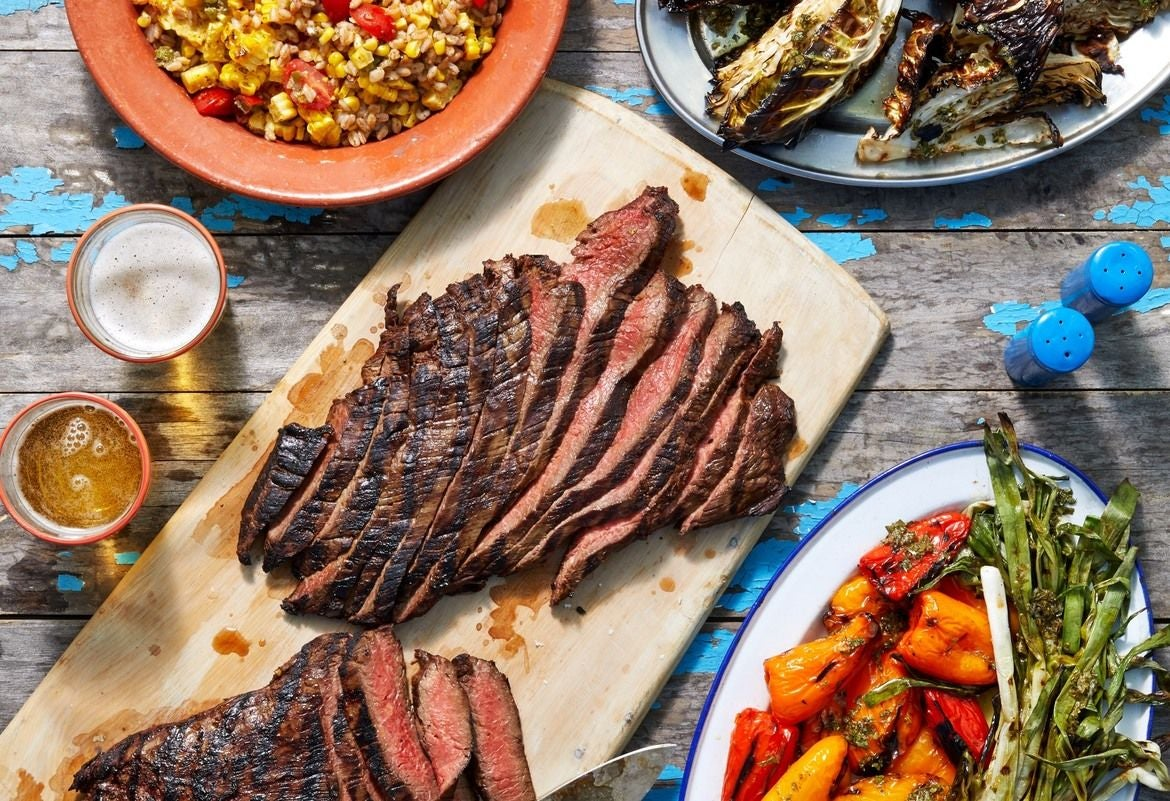 Soy-Marinated Grilled Steak With Grilled Summer Vegetables and Charred Corn-Farro Salad