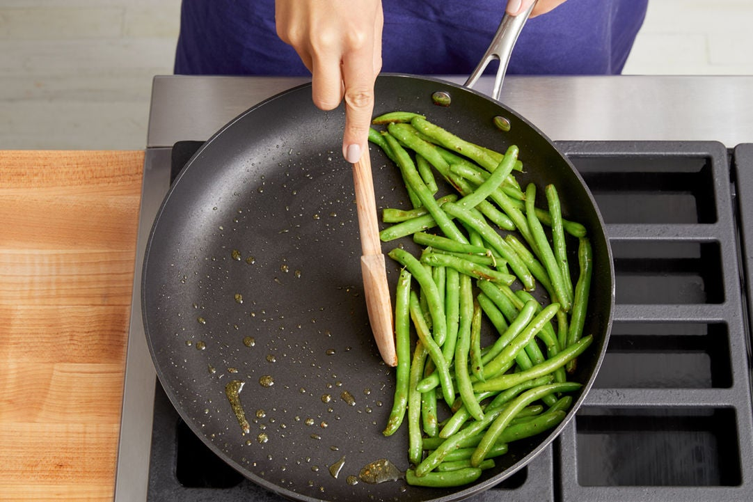 Season the chicken & cook the green beans: