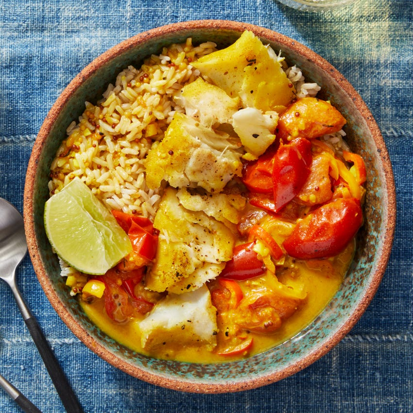 Cod & Coconut Curry Bowl with Brown Rice