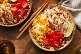 Chicken & Brown Rice Bowl with Marinated Vegetables  & Sambal Sauce
