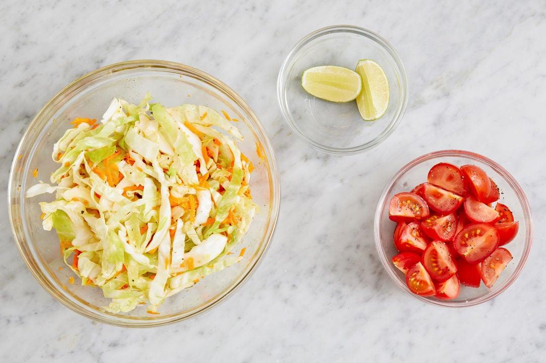 Prepare the ingredients & marinate the vegetables: