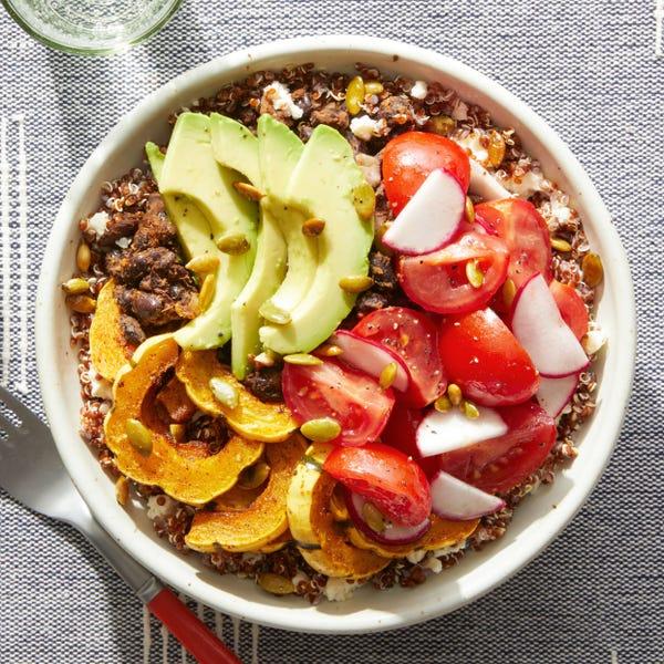 Mexican-Inspired Quinoa Bowl with Avocado, Squash, & Queso Blanco