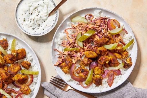 Spiced Chicken & Cabbage Slaw with Jasmine Rice & Cucumber-Yogurt Sauce