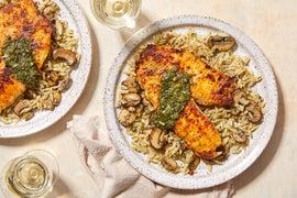 Seared Tilapia & Orzo Pasta with Mushrooms & Salsa Verde