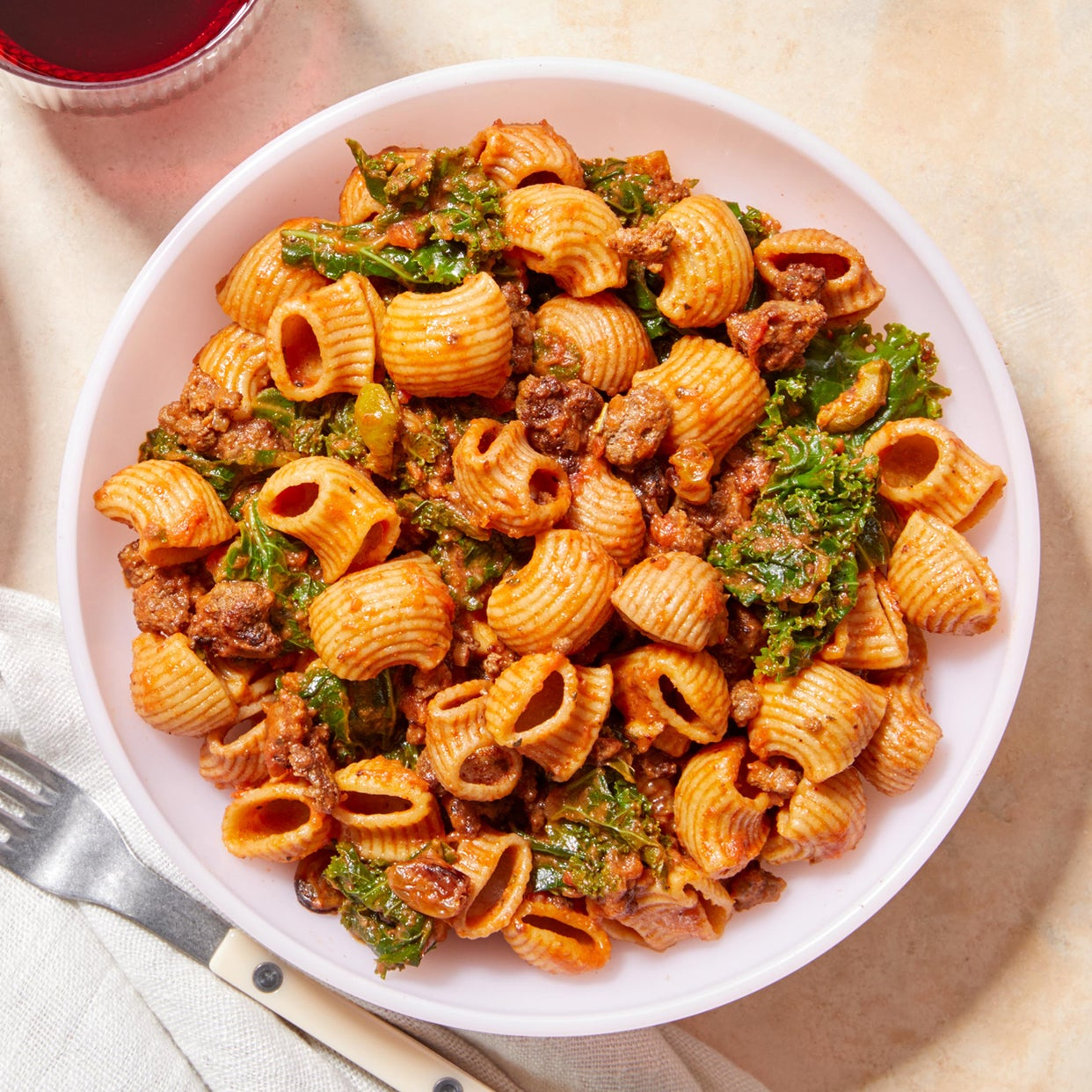 Picadillo-Style Beef Ragù with Whole Grain Pasta