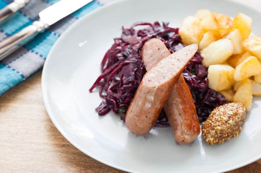 Pan-Roasted Bratwurst with Sweet and Sour Red Cabbage & Crispy Potatoes