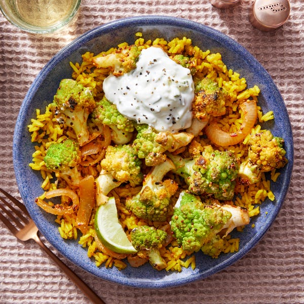 Indian-Style Cauliflower over Curry Rice