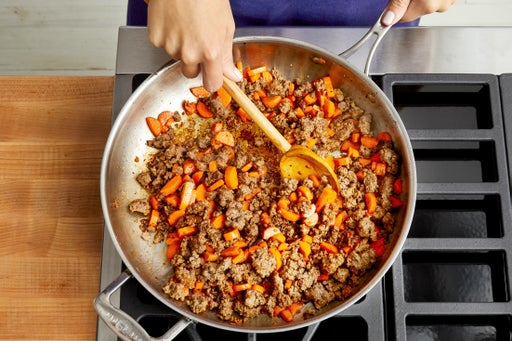 Cook the beef & carrots: