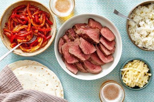 Fiesta Steak Fajitas with Onion, Peppers, & Cheesy Rice