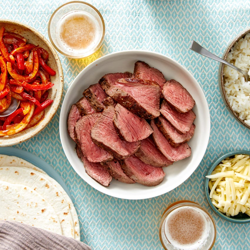 Fiesta Steak Fajitas with Onion, Peppers, & Cheesy Rice
