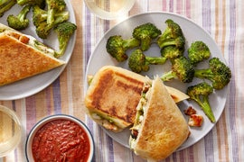 Turkey, Mozzarella, & Pesto Paninis with Roasted Broccoli