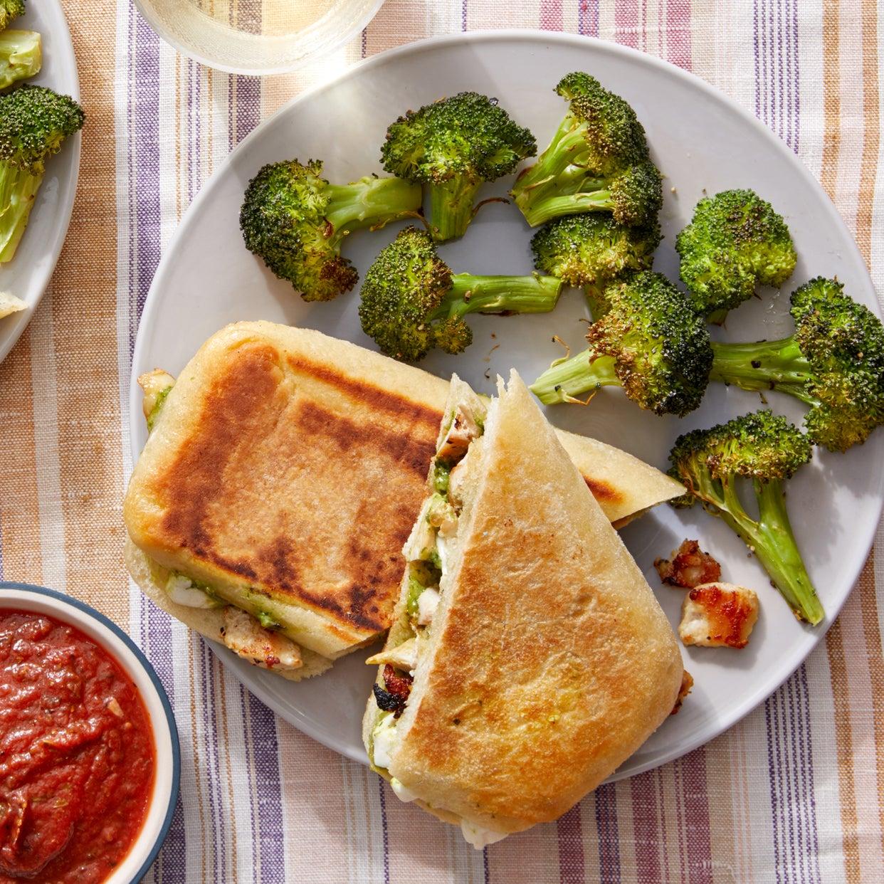 Turkey, Mozzarella, & Pesto Paninis with Roasted Broccoli