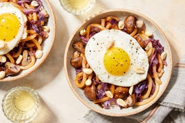 Udon Noodle Stir-Fry with Cabbage, Mushrooms, & Fried Eggs