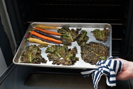 Roast the kale and carrots: