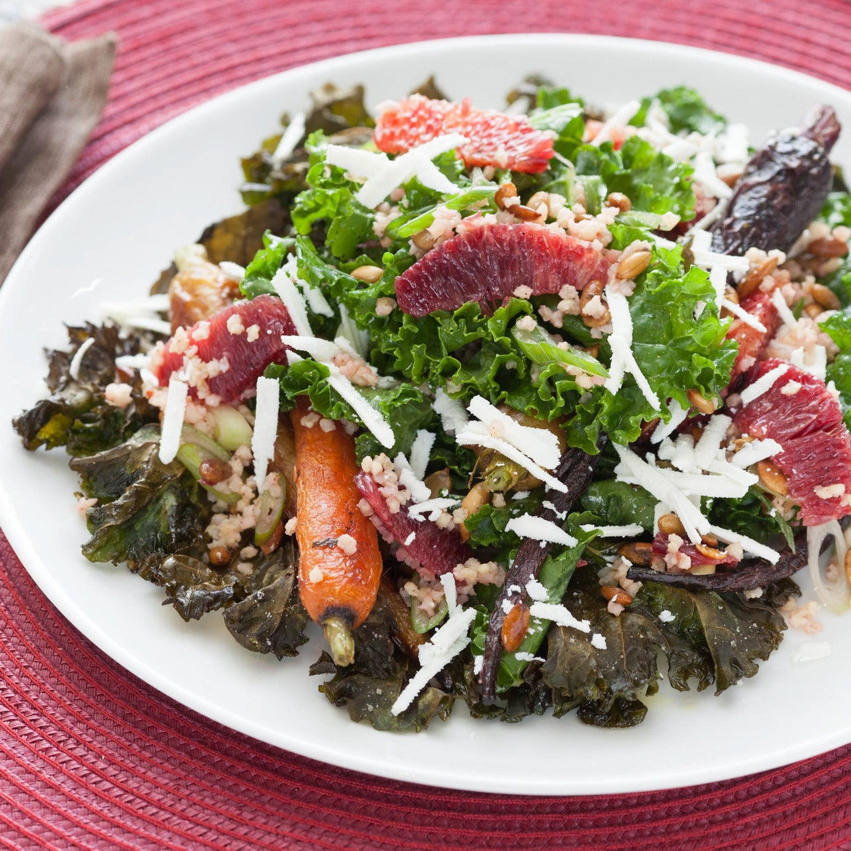 Roasted Kale & Heirloom Carrot Salad with Pepitas, Ricotta Salata & Champagne-Cardamom Vinaigrette