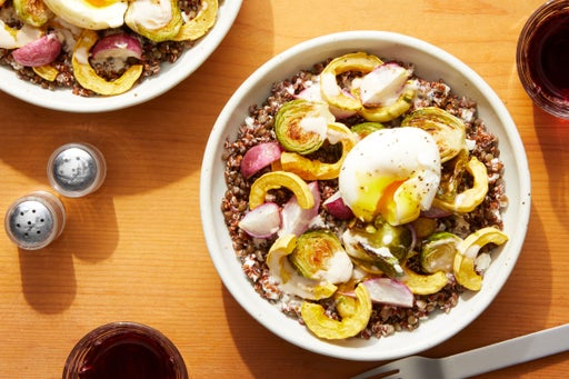 Tahini-Dressed Lentil & Quinoa Bowl with Roasted Radishes, Squash, & Brussels Sprouts