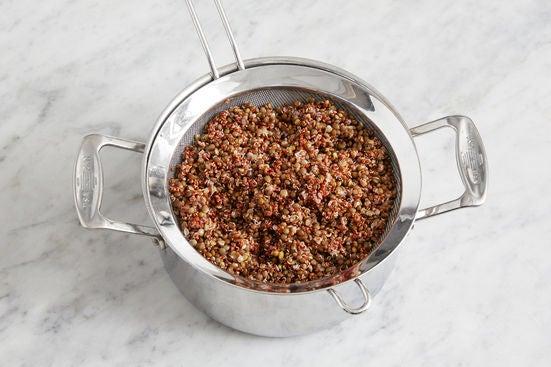 Cook the lentils & quinoa: