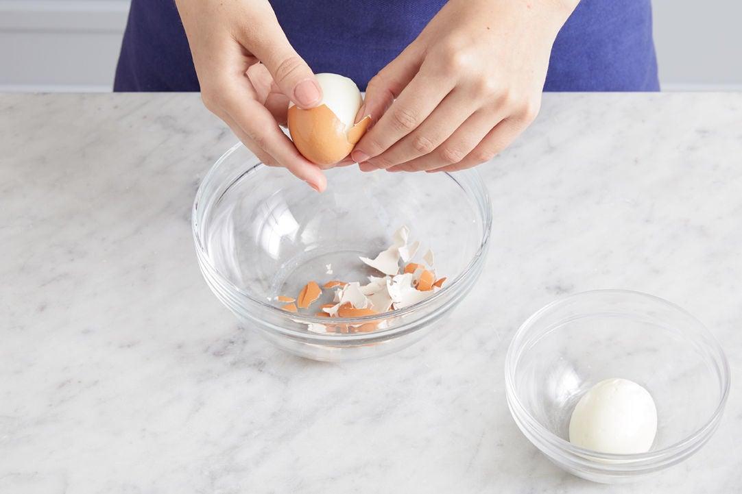Make the soft-boiled eggs: