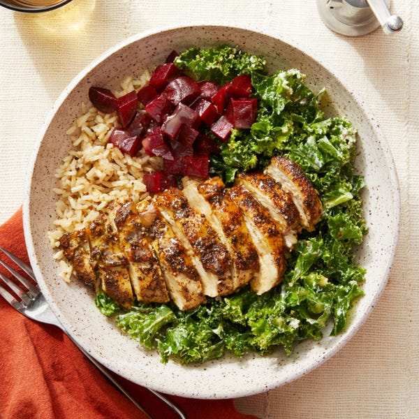 Seared Chicken & Brown Rice Bowl with Kale, Beets, & Goat Cheese