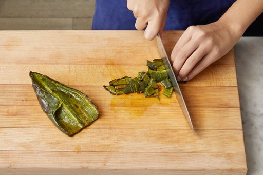 Roast the poblano pepper: