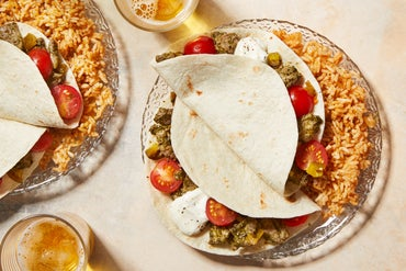 Cilantro Beef Tacos with Fresh Tomatoes  & Spiced Rice