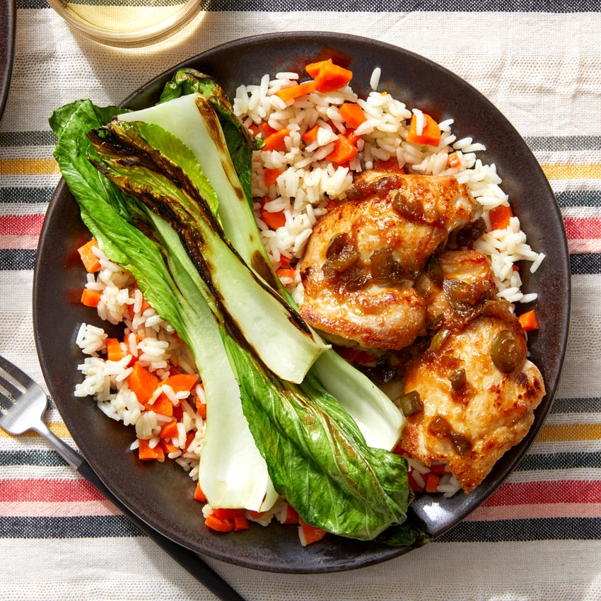 Adobo-Style Chicken with Sautéed Bok Choy & Jasmine Rice