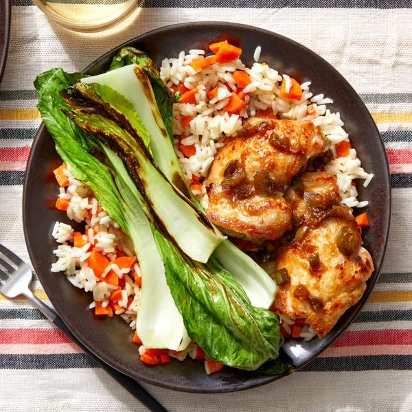 Adobo-Style Chicken with Sautéed Bok Choy & Jasmine Rice