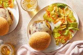 Zesty Pork Burgers with Mustard & Fontina Cheese