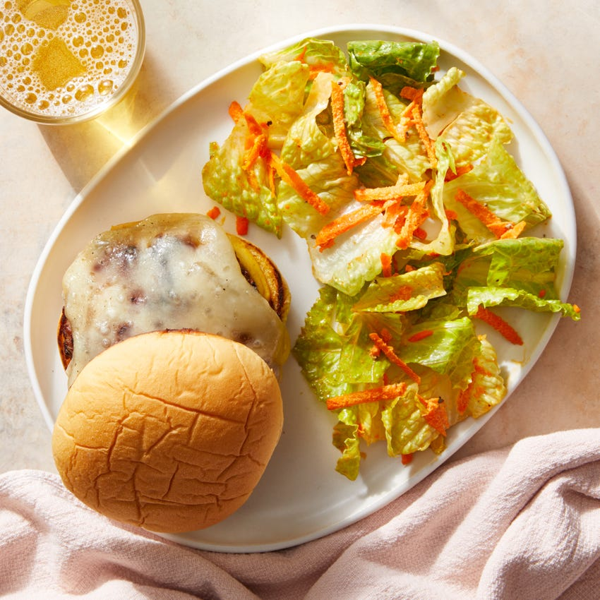 Zesty Pork Burgers with Mustard & Fontina Cheese