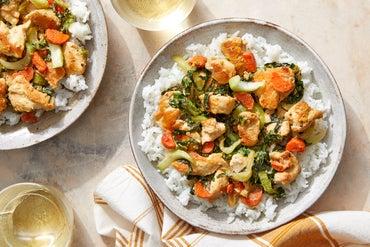 Sweet & Savory Sesame Chicken with Vegetables & Jasmine Rice