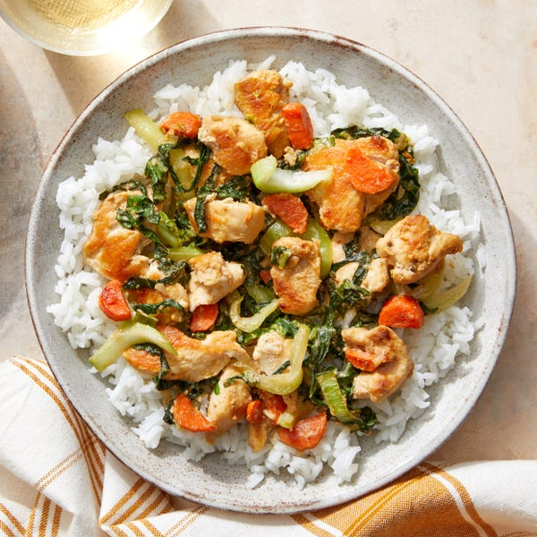 Sweet & Savory Sesame Chicken with Vegetables & Jasmine Rice