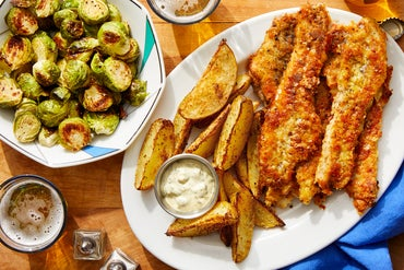Crispy Fish Fillets & Potato Wedges with Homemade Tartar Sauce & Roasted Brussels Sprouts